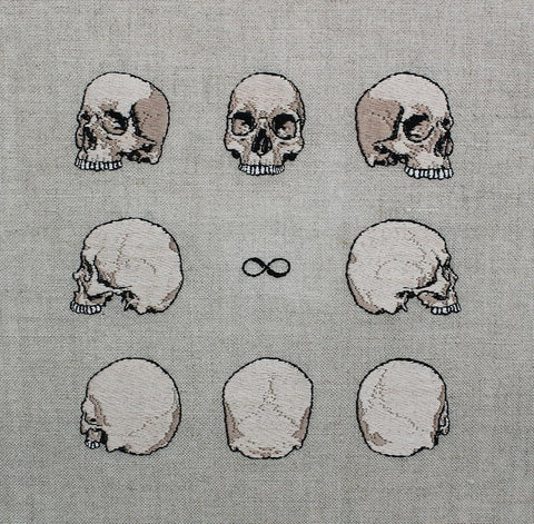 "Adipocere - ""Leminscate Skull Study"" - hand embroidery on natural linen, cotton thread - 24.9 x 24.9cm (9.8""x9.8"")"