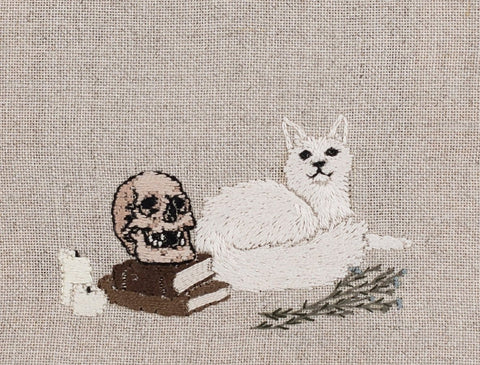 "Adipocere - ""Vanitas"" - hand embroidery on natural linen, cotton thread - 17.5 x 5cm (6.9""x2"")"