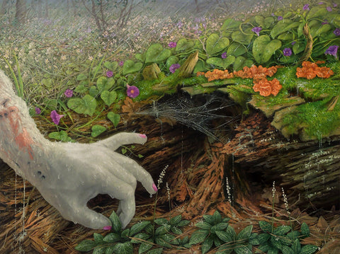 "Adrian Cox - ""Veiled Healer Gathering Herbs (Spring Rain)"" - oil on panel - 61 x 45.7cm (24""x18"")"