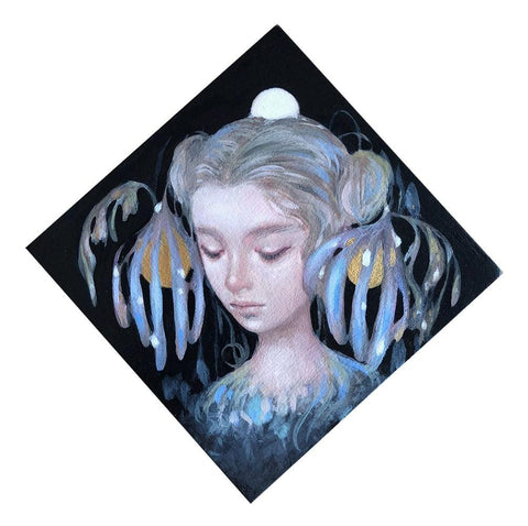 "Amy Sol  - 'Nite Blume' - oil and graphite on panel - 10.2 x 10.2cm (4""x4"")"
