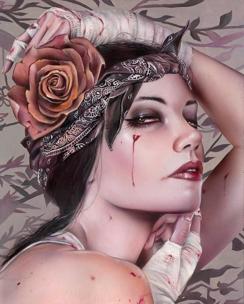 "Brian M. Viveros - 'All for One' - oil and acrylic on maple board - 27.9 x 35.6cm (11""x14"")"