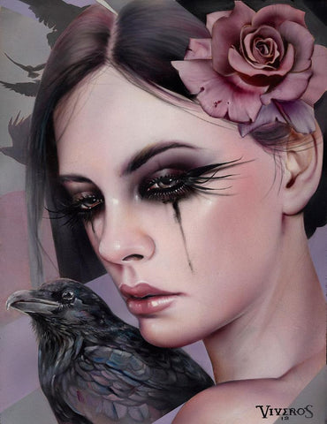 "Brian M. Viveros - 'Crow' - oil and acrylic on maple board - 25.4 x 33cm (10""x13"")"