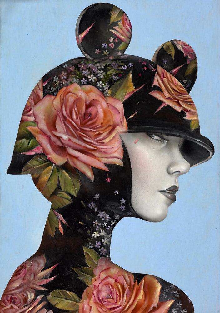 "Brian M. Viveros - 'Dizzyland' - oil and acrylic on maple board - 25.4 x 33cm (10""x13"")"