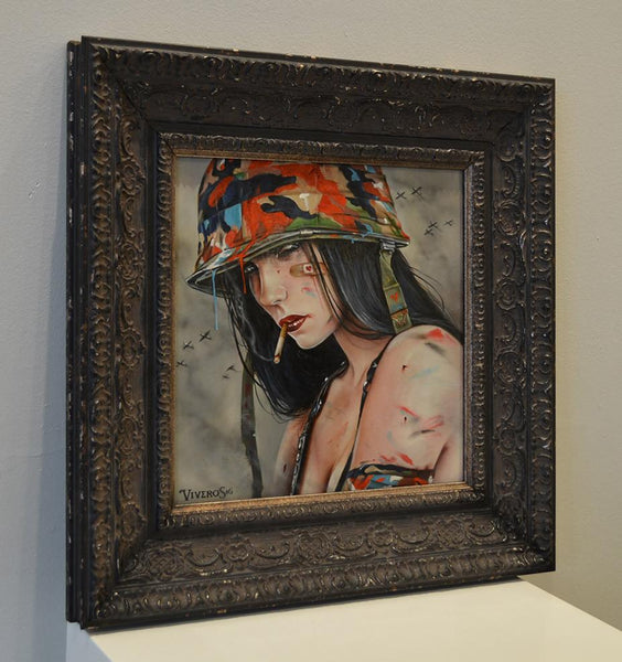 "Brian M. Viveros - ""Chameleon"" - oil and acrylic on maple wood - 25.4 x 25.4cm (10""x10"")"