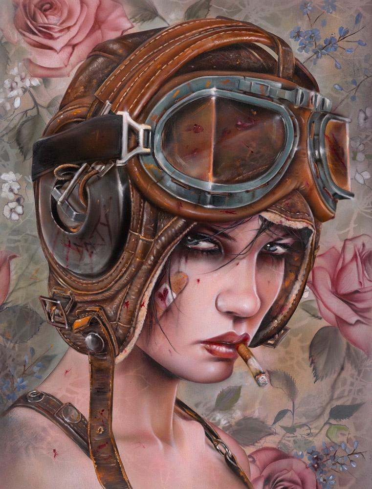 "Brian M. Viveros - 'Leatherhead' - oil and acrylic on maple board - 30.5 x 40.6cm (12""x16"")"
