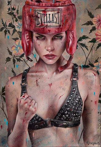 "Brian M. Viveros - 'Protect Yourself' - oil and acrylic on maple board - 38.1 x 50.8cm (15""x20"")"