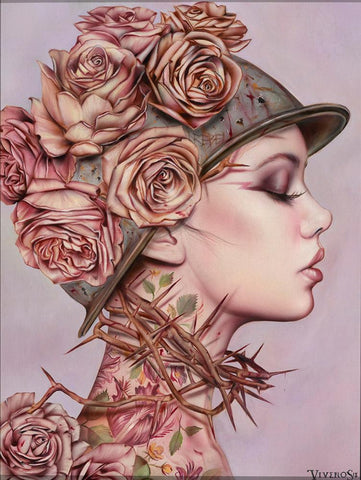 "Brian M. Viveros - 'Rebel Yell' - oil and acrylic on maple board - 38.1 x 50.8cm (15""x20"")"