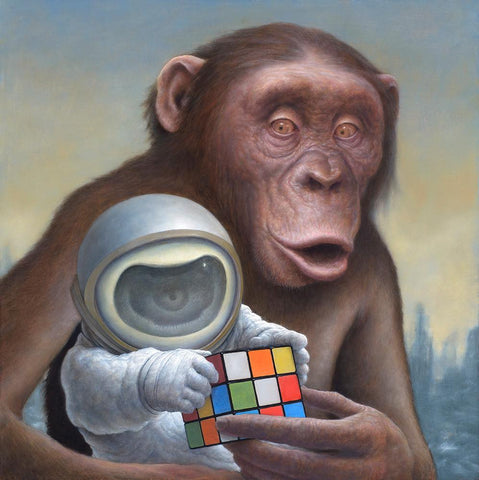 "Chris Leib - ""Mind Games"" - oil on board - 30.5 x 30.5cm (12""x12"")"