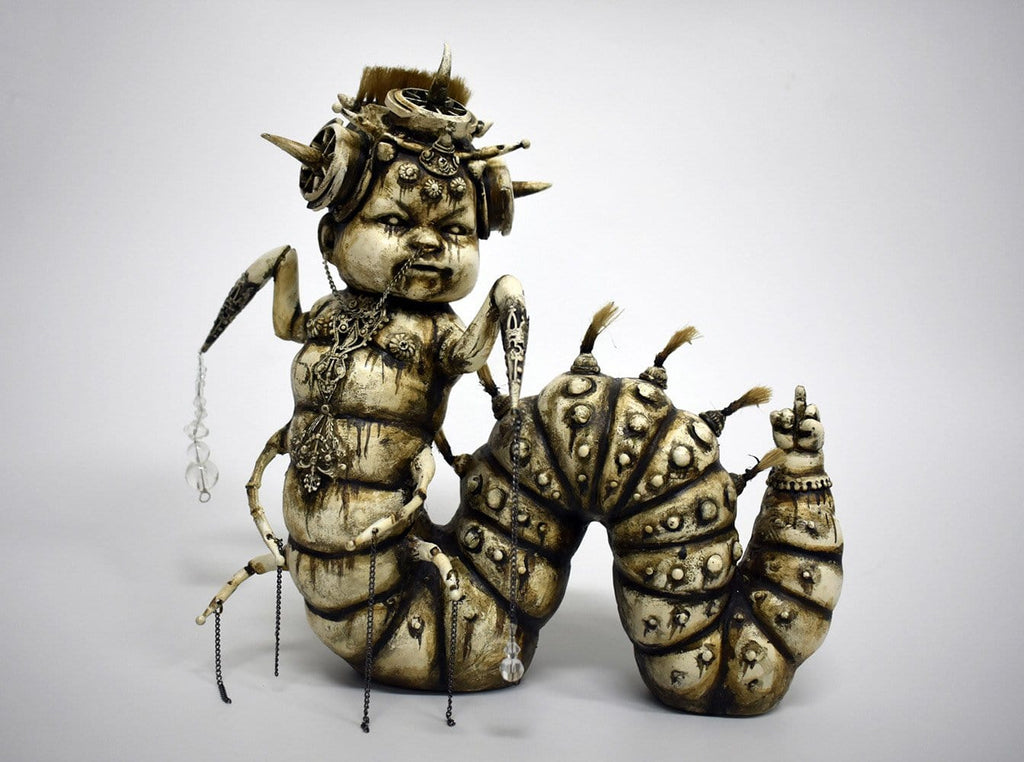 "Costa Magarakis - 'The Kid Inside Me' - mixed media on fiberglass - 25.5 x 25.5 x 25.5cm (10""x10""x10"")"
