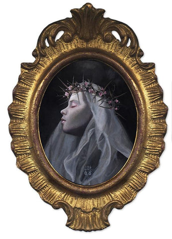 "David Stoupakis - ""Grace"" - oil on wood - 10.2 x 12.7cm (4""x5"")"