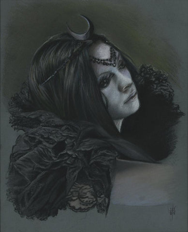 "David Stoupakis - ""Black Moon"" study - pastels on pastel board - 20.3 x 25.4cm (8""x10"")"
