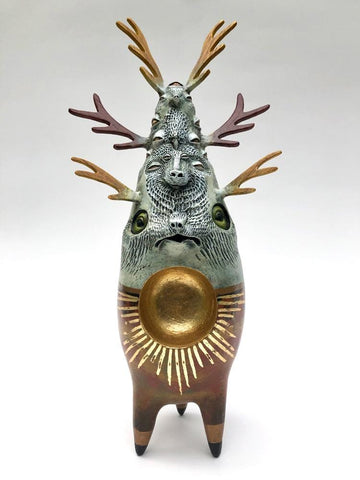 "Kristen Egan - ""Reliquary I"" - gourd, wood (oak, osage orange, purple heart), paper clay, acrylics and metal leaf - 24 x 9 x 9cm (9.4""x3.5""x3.5"")"