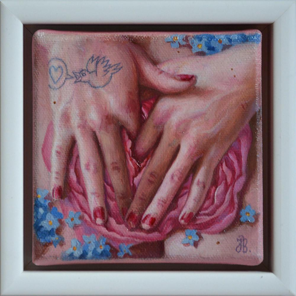 "Jana Brike - ""Love Song"" - oil on canvas - 10 x 10cm (3.9""x3.9"")"