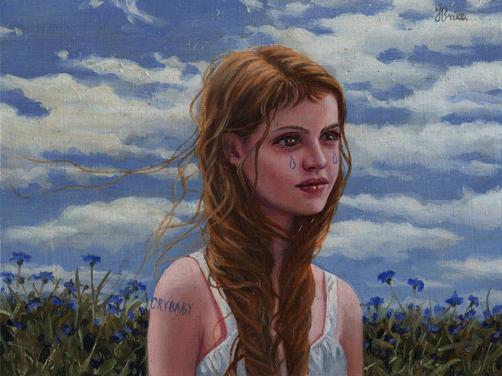 "Jana Brike - ""Crybaby"" - oil on canvas - 20 x 15cm (7.9""x5.9"")"