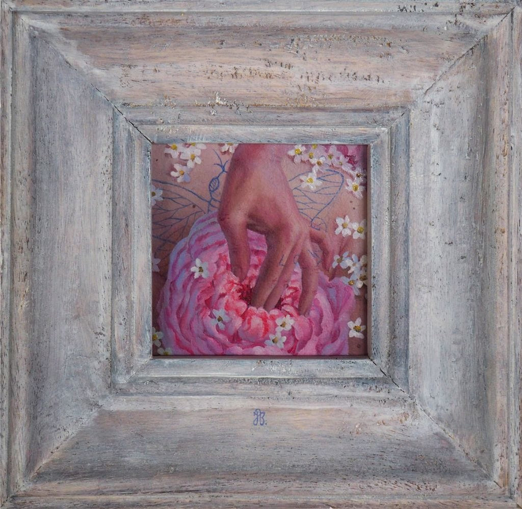 "Jana Brike- ""Reaching Home"" - oil on board - 10 x 10cm (4""x4"")"