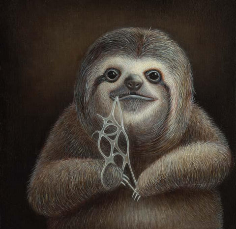 "Jean-Pierre Arboleda - ""Slothy Floss"" - oil on wood - 15.2 x 15.2cm (6""x6"")"