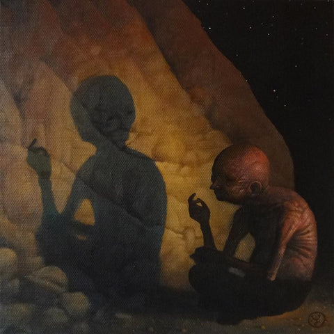 "Jeff Christensen - 'Dialogue With The Shadow' - oil on canvas - 20.3 x 20.3cm (8""x8"")"