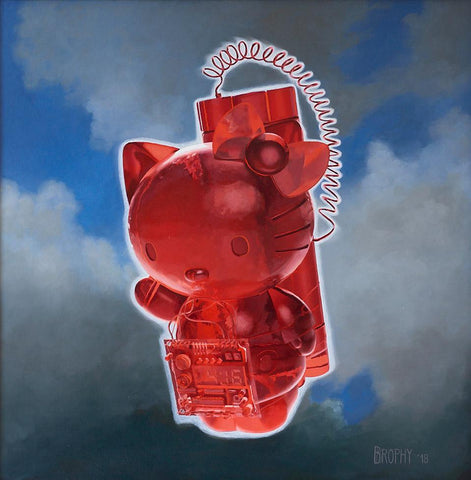 "John Brophy - 'Cherry Bomb' - oil on panel - 25.5 x 25.5cm (10""x10"")"