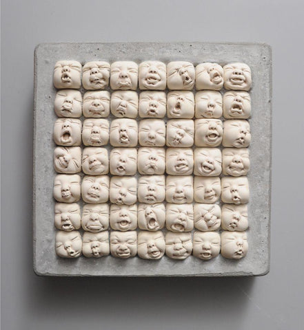 "Johnson Tsang - ""School Life"" - porcelain and concrete - 30 x 30 x 6.5cm (11.8""x11.8""x2.5"")"