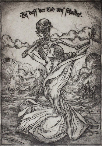 "Jonathan Guthmann - ""Biss dass der Tod uns scheidet ('Til Death do us part)"" - etching and engraving on Hahnemühle paper - Edition of 7 - 27 x 38cm (10.6""x15"")"