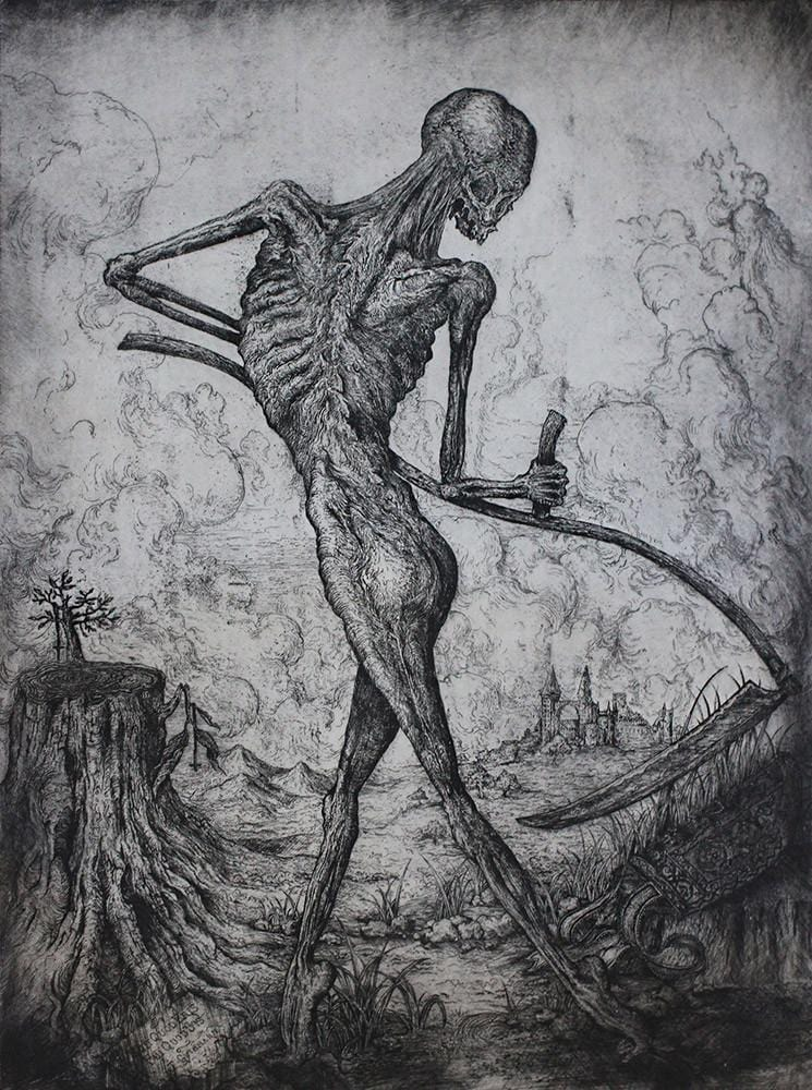 "Jonathan Guthmann - ""Totentanz I"" - Etching on Hahnemühle paper. Edition of 3. 55 X 75cm (21.7""x29.5"")"