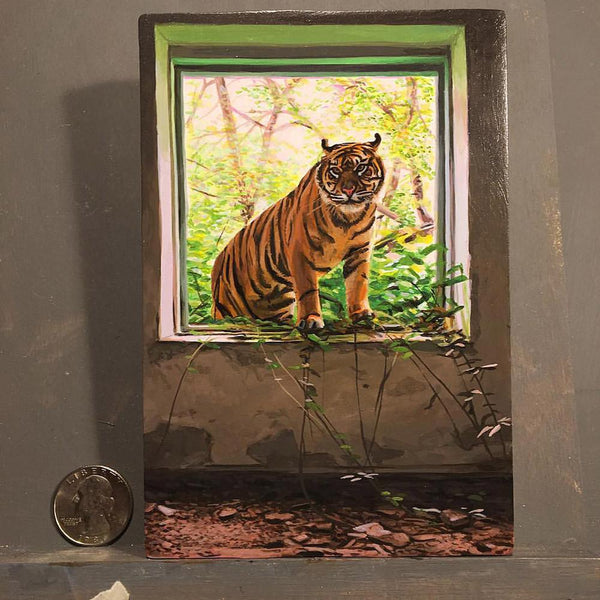 "Josh Keyes - ""The Visitor"" - acrylic on cradled wood panel - 10.2 x 15.2cm (4""x6"")"