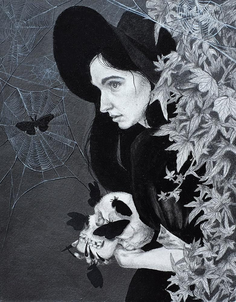 "Kari-Lise Alexander - 'The Haunter' - oil and graphite on paper - 17.8 x 22.9cm (7""x9"")"