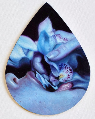 "Kari-Lise Alexander - 'Orchid Eater' - oil on panel - 15.3 x 20.3cm (6""x8"")"