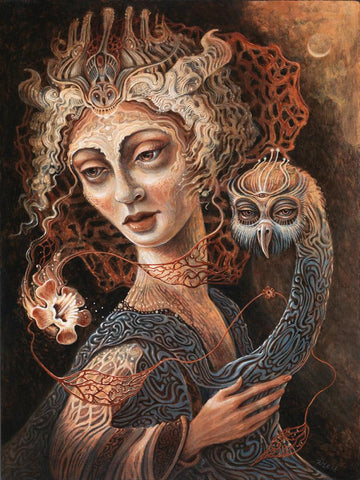 "Kim Evans - ""Wisdom Cloak""- acrylic on cradled panel - 23 x 30cm (9""x11"")"