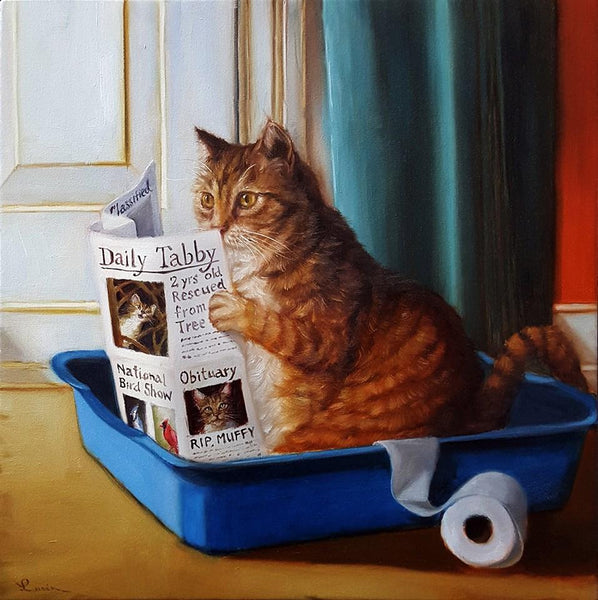 "Lucia Heffernan - ""Cat on a Throne"" - oil on board - 40.6 x 40.6cm (16""x16"")"