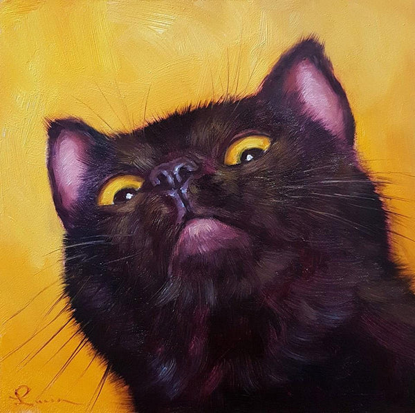 "Lucia Heffernan - ""No More Tuna"" - oil on board - 15.2 x 15.2cm (6""x6"")"