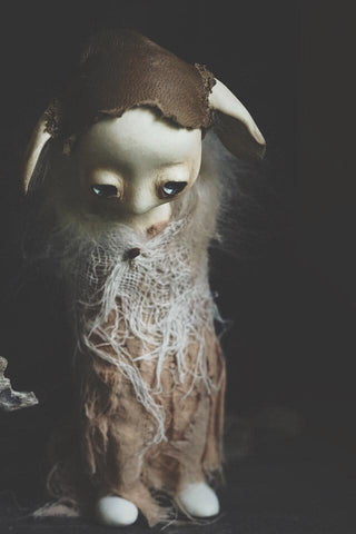 "Mahlimae - ""The Watcher's Wife"" - stone clay, glass, leather, rabbit fur (ethically sourced from artist's pet), hand dyed textiles, Australian merino wool, dried lichen - 12cm (4.7"")"