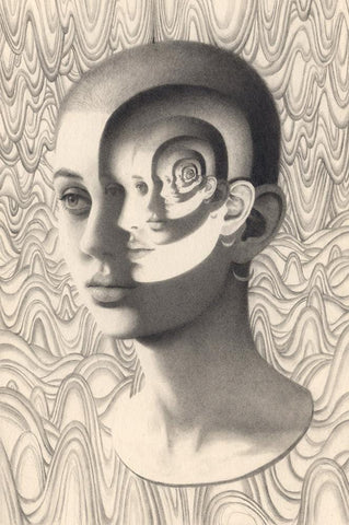 "Miles Johnston - 'Dichotomy' - graphite on Moleskin paper - 13 x 21cm (5""x8.2"")"