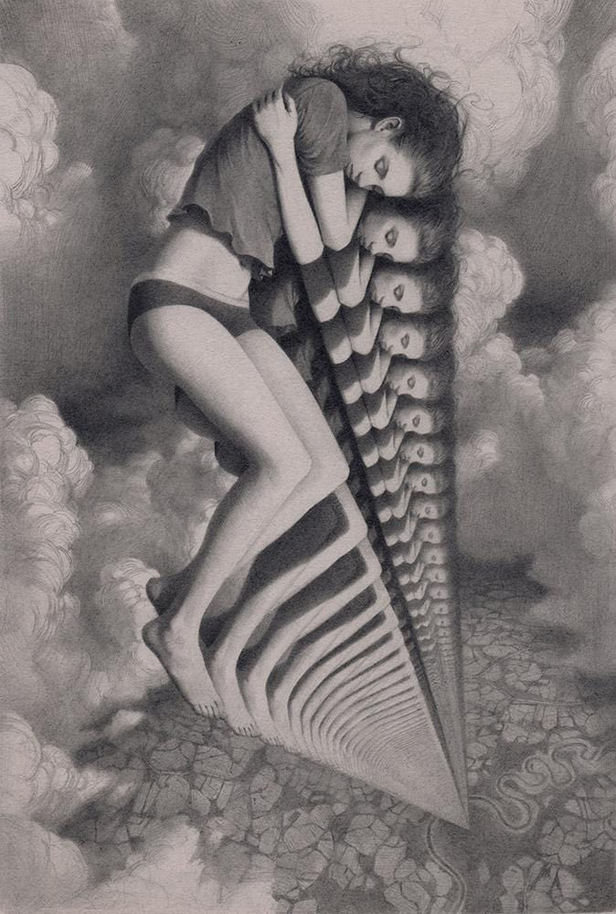 "Miles Johnston - 'Projection' - graphite on pearl grey Stonehenge paper - 17 x 24.5cm (6.6""x9.6"")"