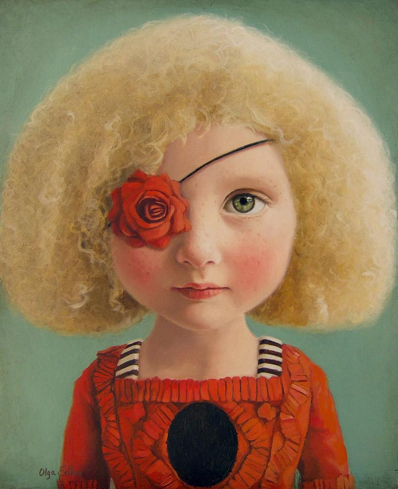 "Olga Esther - 'One-Eyed Love' - oil on wood - 25.4 x 20.3cm (10""x8"")"