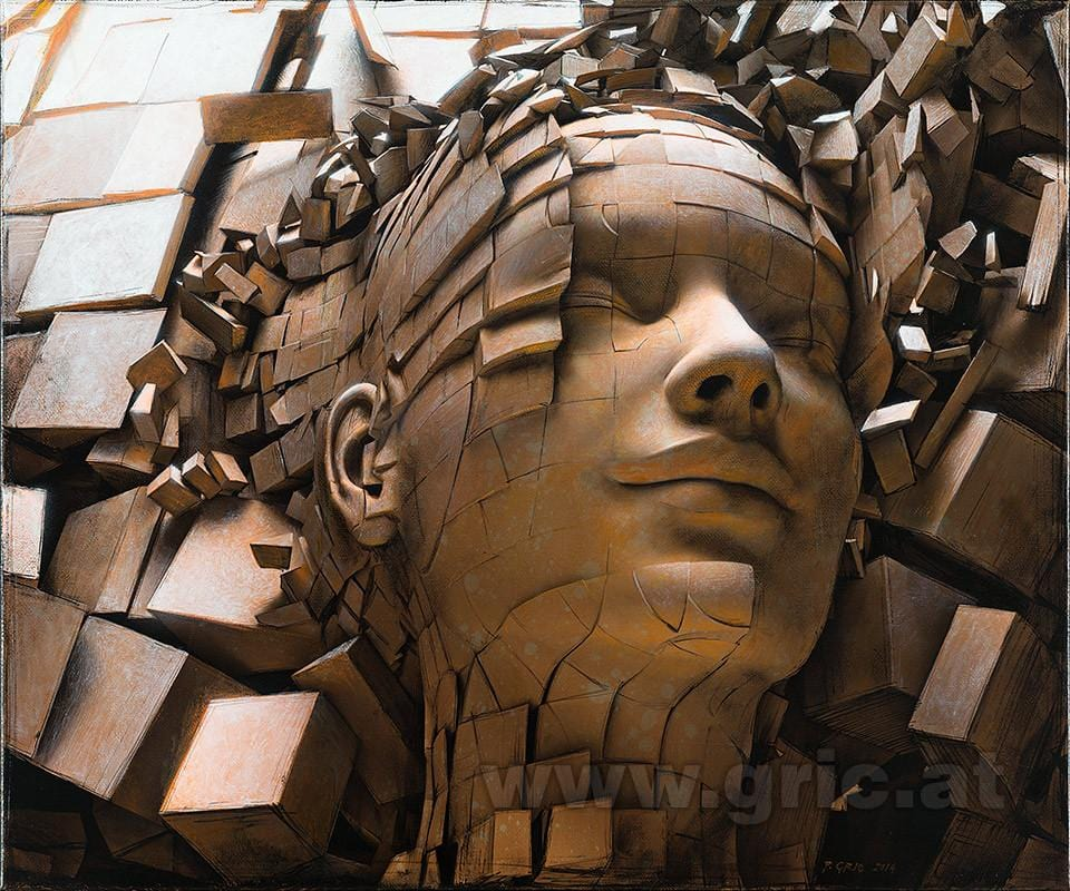 "Peter Gric - ""Dissolution of Ego II"" - limited edition print of 99 - 49 x 43cm (19.3""x16.9"")"