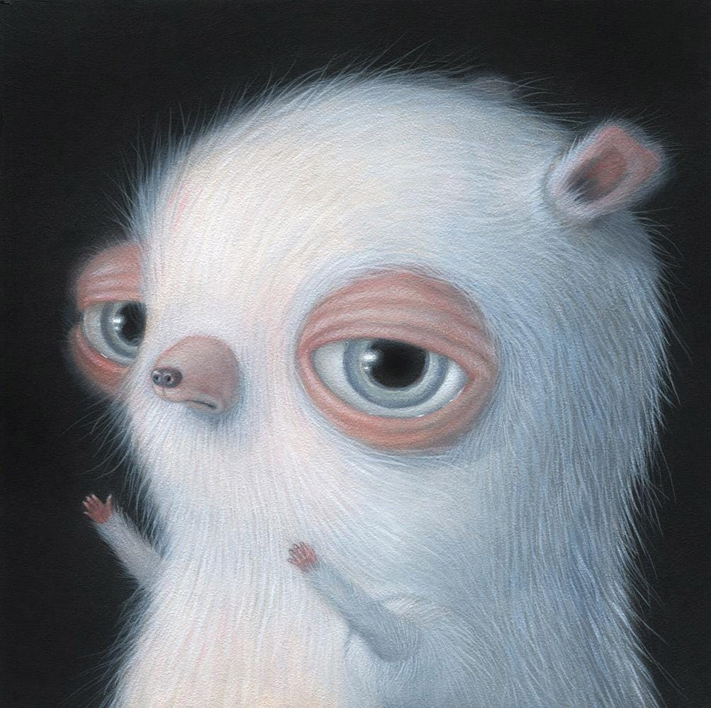 "Renee French - ""Steve Buscemi Mouse"" - acrylic on board - 15.2 x 15.2cm (6""x6"")"