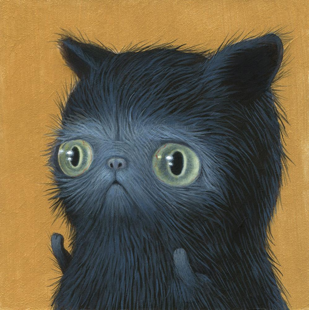 "Renee French - ""The Cat that Drives at Night"" - acrylic on board - 10 x 10cm (4""x4"")"
