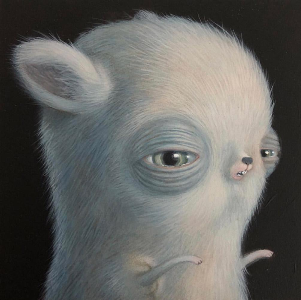 "Renee French - ""Right Facing Mouse"" - acrylic on board - 12.7 x 12.7cm (5""x5"")"