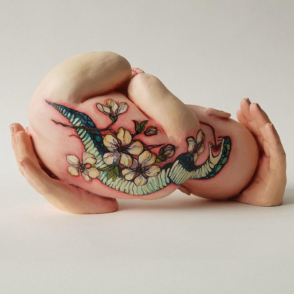 "Ronit Baranga - 'Cradled Tattooed Baby' - clay and acrylic paint - 25 x 15 x 13cm (9.8""x5.9""x5.1"")"