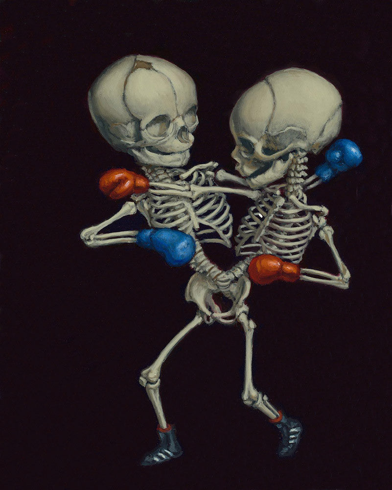 "Sandra Yagi - ""Boxing Twins #4"" - oil on panel - 20.3 x 25.4cm (8""x10"")"