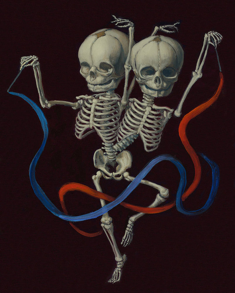 "Sandra Yagi - ""Rhythmic Gymnastic Twins #1"" - oil on panel - 20.3 x 25.4cm (8""x10"")"