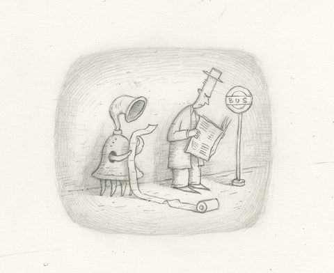 "Shaun Tan - Lost Thing film TV ad - Troublesome artifacts of unknown origin (2009) - pencil on paper - 21 x 15cm (8.3""x5.9"")"