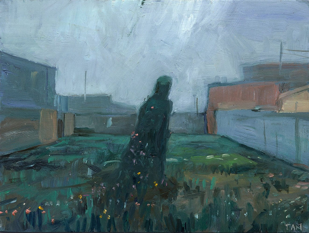 "Shaun Tan - 'Woman growing from a vacant lot' - oil on board - 20 x 15cm (7.9""x6"")"
