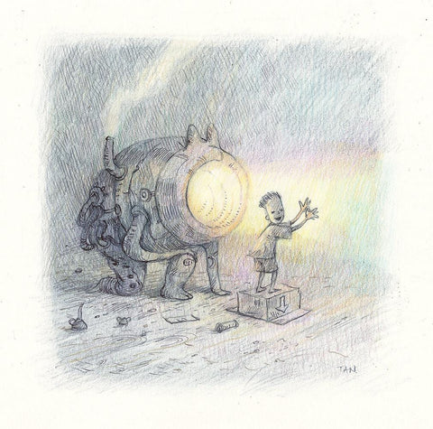 "Shaun Tan - Algernon (2018) - coloured pencil and ballpoint pen on paper - 16 x 16cm (6.3""x6.3"")"