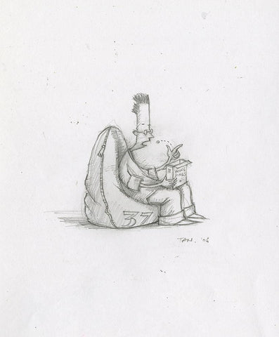 "Shaun Tan - Lost Thing film concept art: Bean bag boy (2006) - pencil on paper - 16 x 16cm (6.3""x6.3"")"