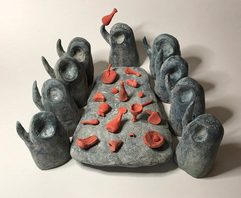 "Shaun Tan - ""The Boots of Leather""- Air drying clay, acrylic paint, wire, wax - approx. 26 x 30 x 12cm (10.2""x11.8""x4.7"")"