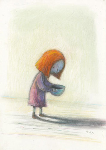 "Shaun Tan - ""Bowl (Red Tree Girl)"" (2002) - pastel on paper - 30 x 42cm (11.8""x16.5"")"
