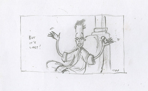"Shaun Tan - Lost Thing film storyboard panel: But it's Lost! (2004) - pencil on paper - 12 x 8cm (4.7""x3.1"")"