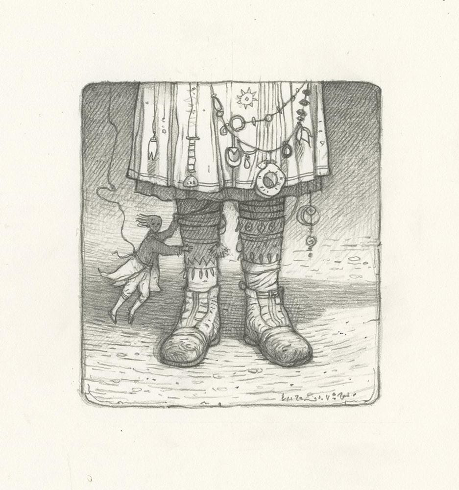 "Shaun Tan - ""I've got a little ghost"" (2008) - pencil on paper - 18 x 19cm (7.1""x7.5"")"
